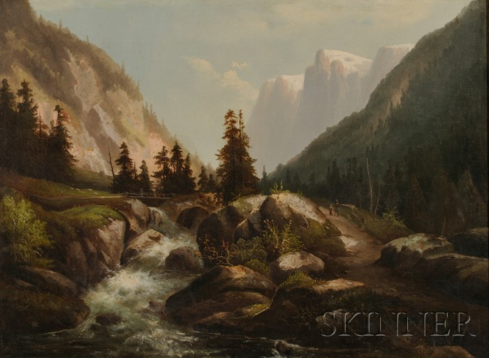 Continental School, 19th Century      Mountain Valley with Rushing Stream