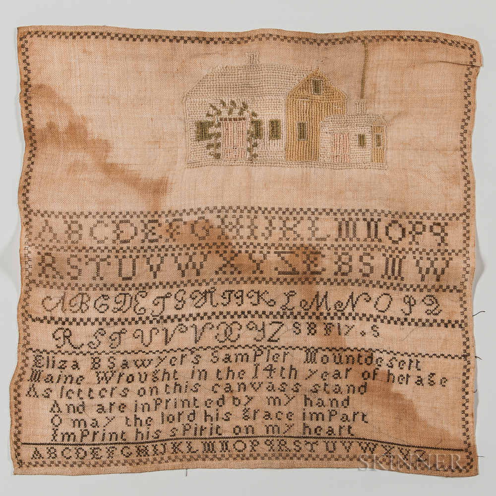 "Unframed Needlework Sampler ""Eliza B. Sawyer,"""
