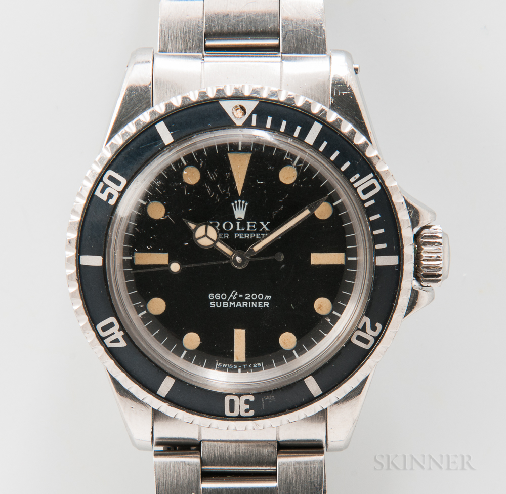 """Rolex Submariner Stainless Steel Reference 5513 """"Feet First"""" Wristwatch"""