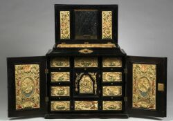Continental Part Ebonized Fruitwood Stumpwork Embroidery Inset Table Cabinet