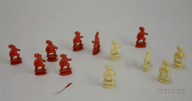 Twelve Chinese Export Carved Ivory Game Board Figures