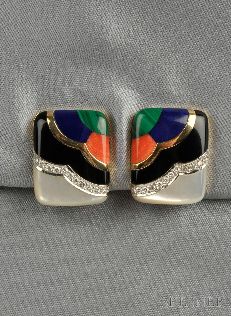 18kt Gold, Hardstone, and Diamond Earclips, Asch Grossbardt