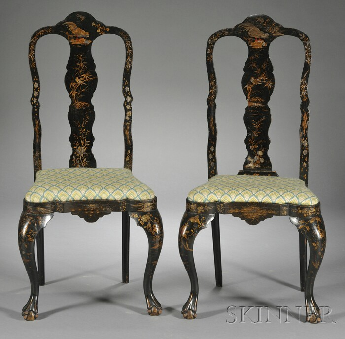 Pair of Queen Anne-style Japanned Side Chairs