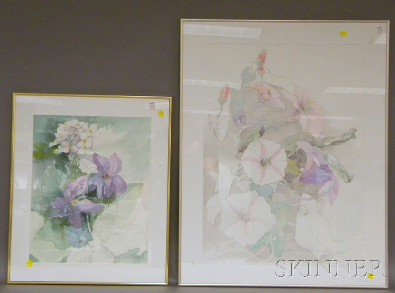 Denise Schwander (Swiss, b. 1945)      Two Watercolors:  Floral Study
