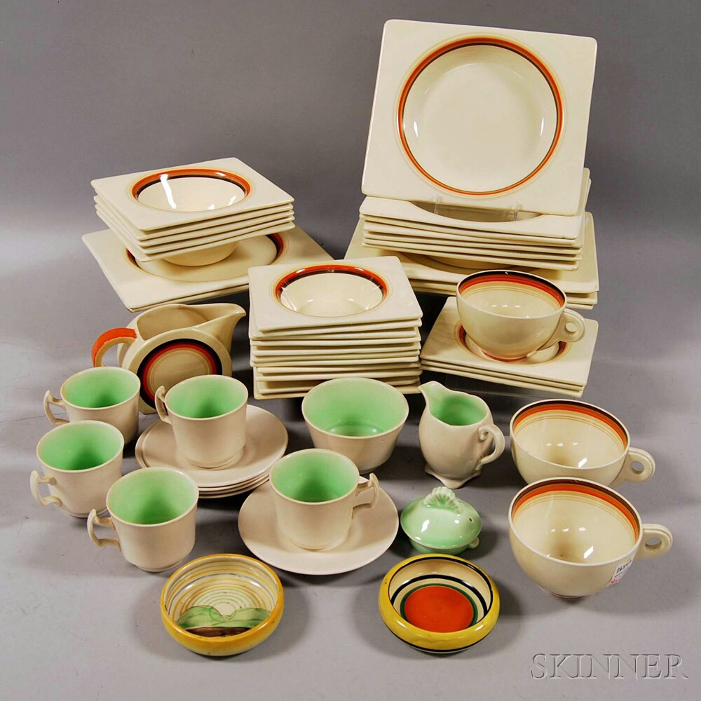 Biarritz Royal Staffordshire Pottery Partial Dinner Set and Small Group of   Clarice Cliff Pottery Tableware