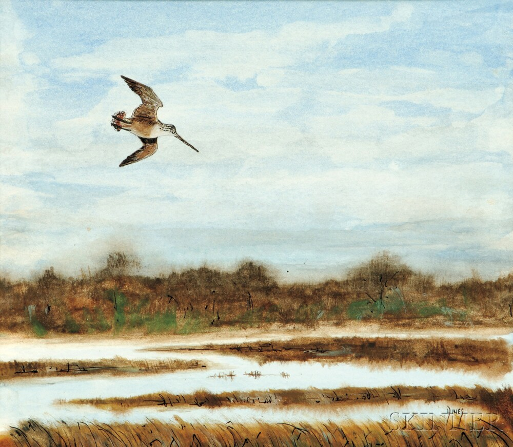 Bruce Dines (American, b. 1927)      Woodcock in Flight.