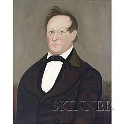 Prior Hamblen School, 19th Century  Portrait of a Blue-Eyed Gentleman.