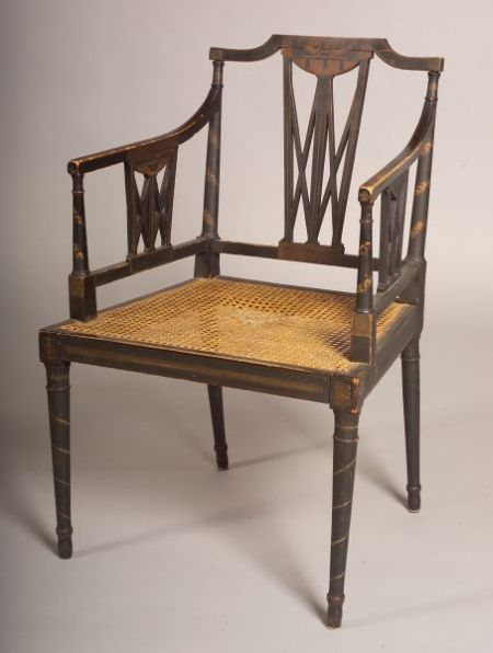 Regency Painted and Ebonized Armchair