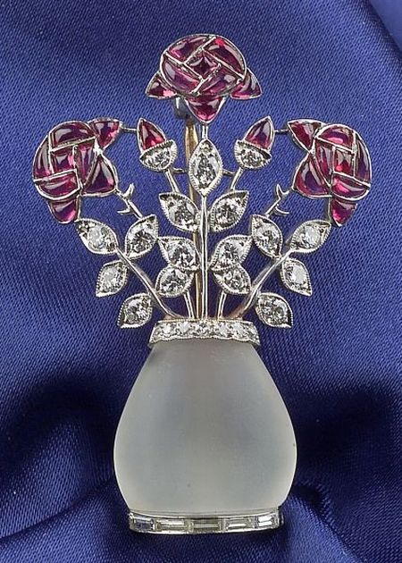 Art Deco Platinum, Frosted Rock Crystal, Ruby, and Diamond Rose Brooch