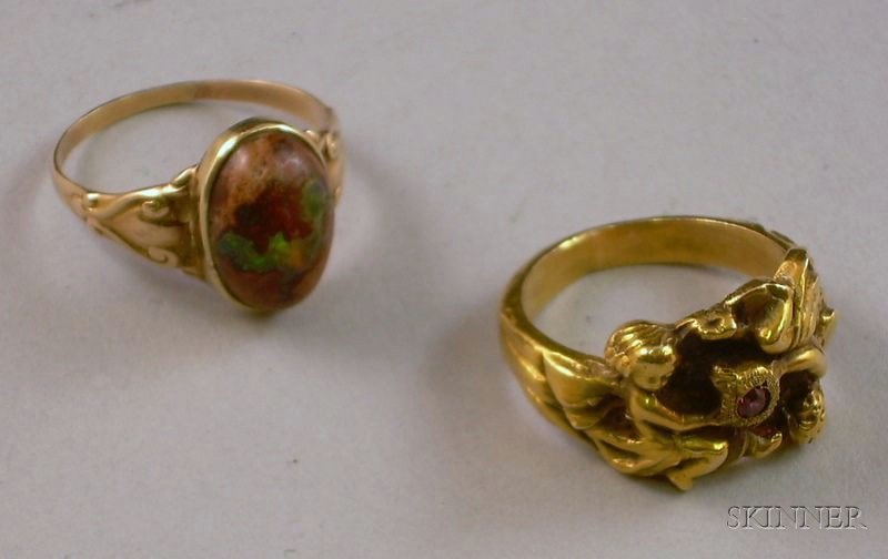 14kt Gold figural Ring and a Gold and Matrix Opal Ring