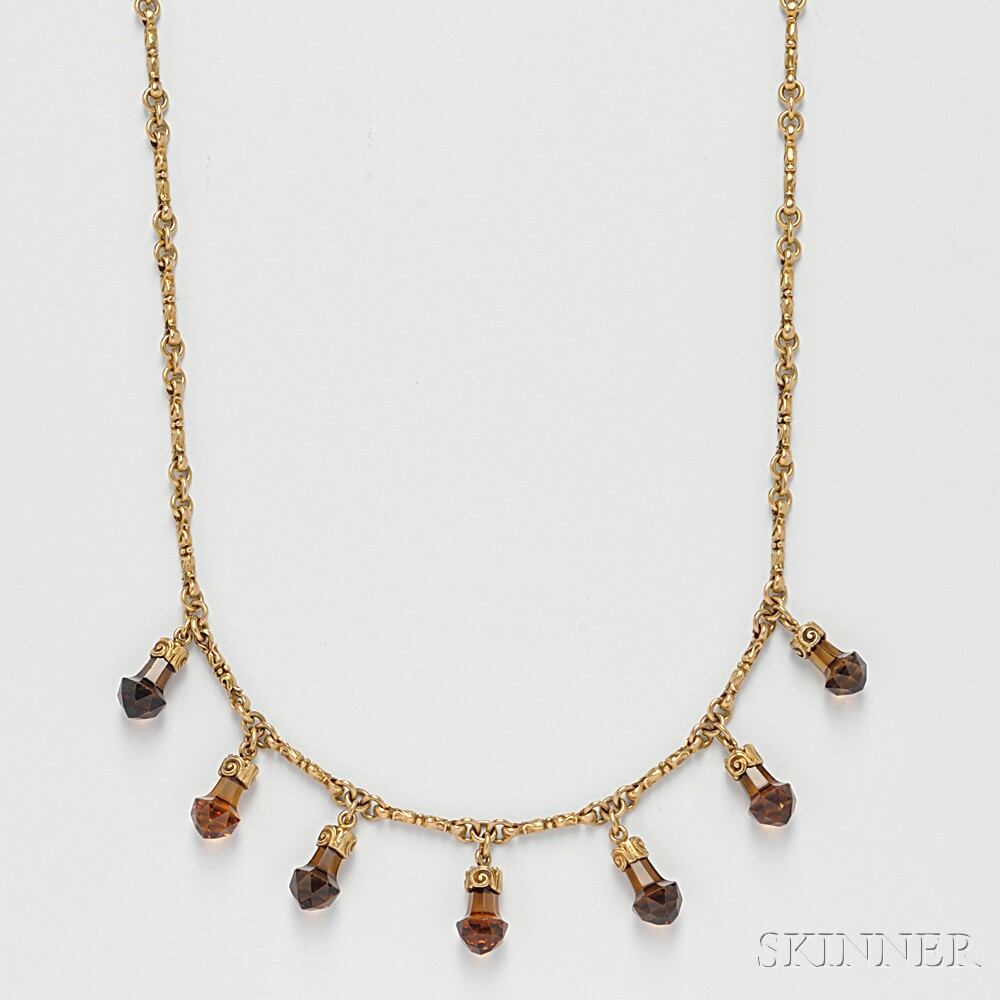 Antique 14kt Gold and Citrine Necklace