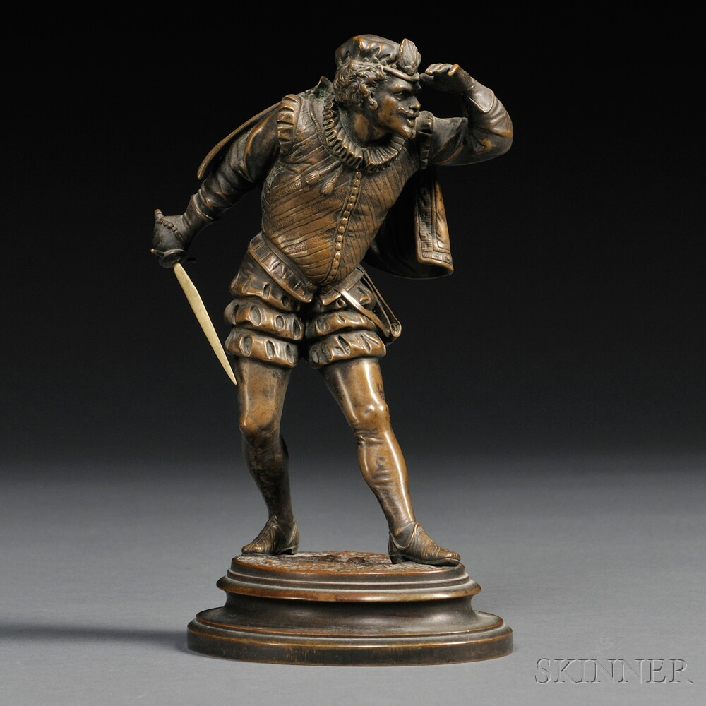 After Emile Coriolan Hippolyte Guillemin (French, 1841-1907)       Bronze Figure of a Dueling Cavalier