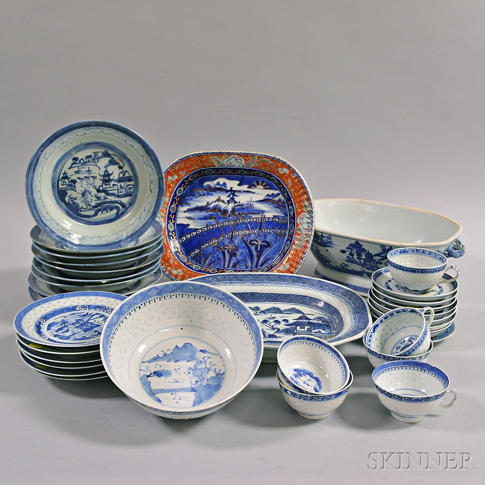 Thirty-four Pieces of Blue and White Chinese Export Porcelain