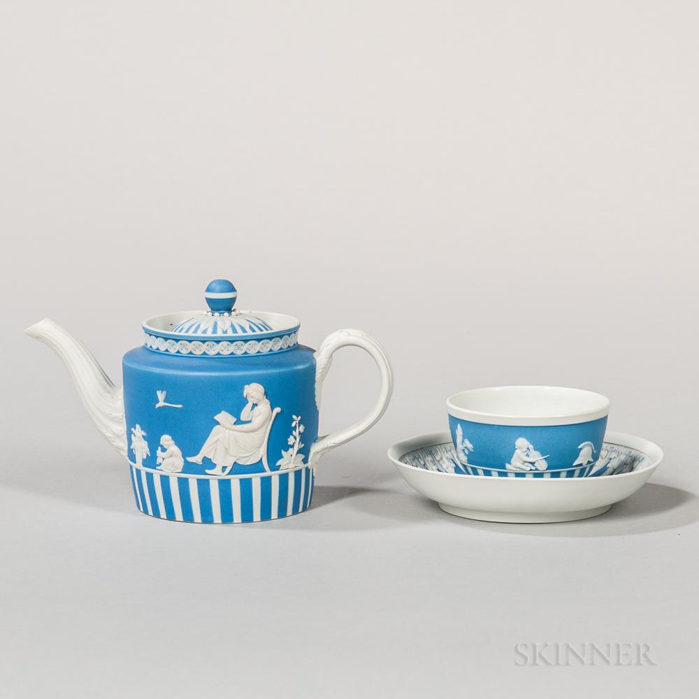 Two Wedgwood Blue Jasper Dip Tea Wares