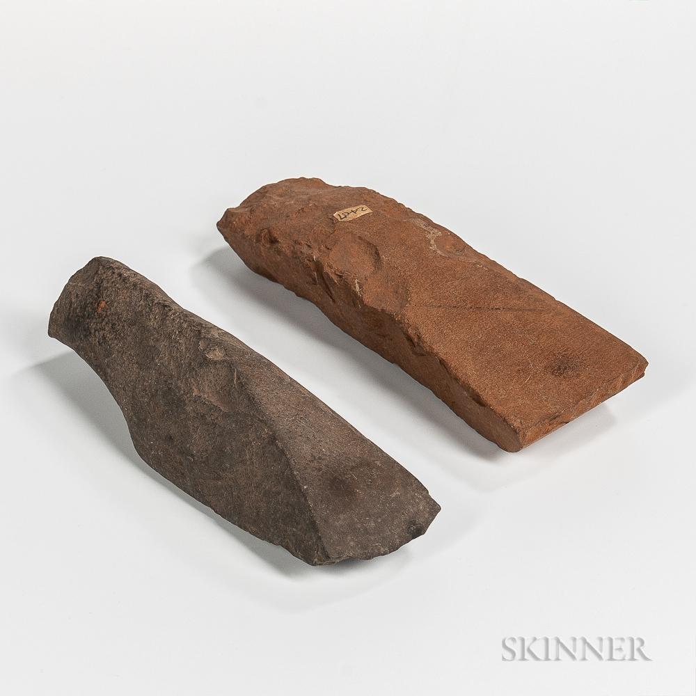 Two Polynesian Stone Adze Blades