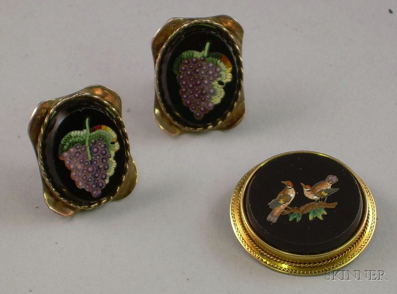 Pair of Sterling Silver Micromosaic Earrings and a Gold Framed Micromosaic Brooch.