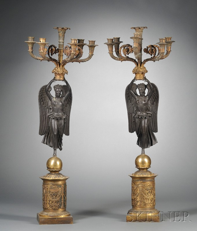 Pair of Empire-style Figural Candelabra