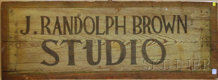 Joseph Randolph Brown (1861-1953) Painted Wood Double-sided Studio Sign