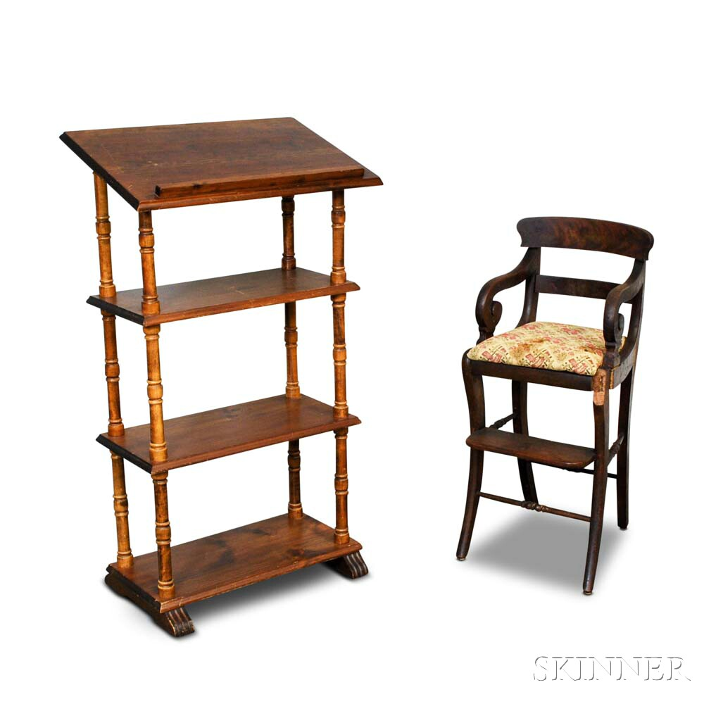 Pine Four-tier Reading Stand and a Maple Highchair.     Estimate $20-200