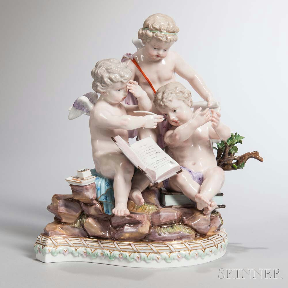 Meissen Porcelain Figural Group with Three Putti