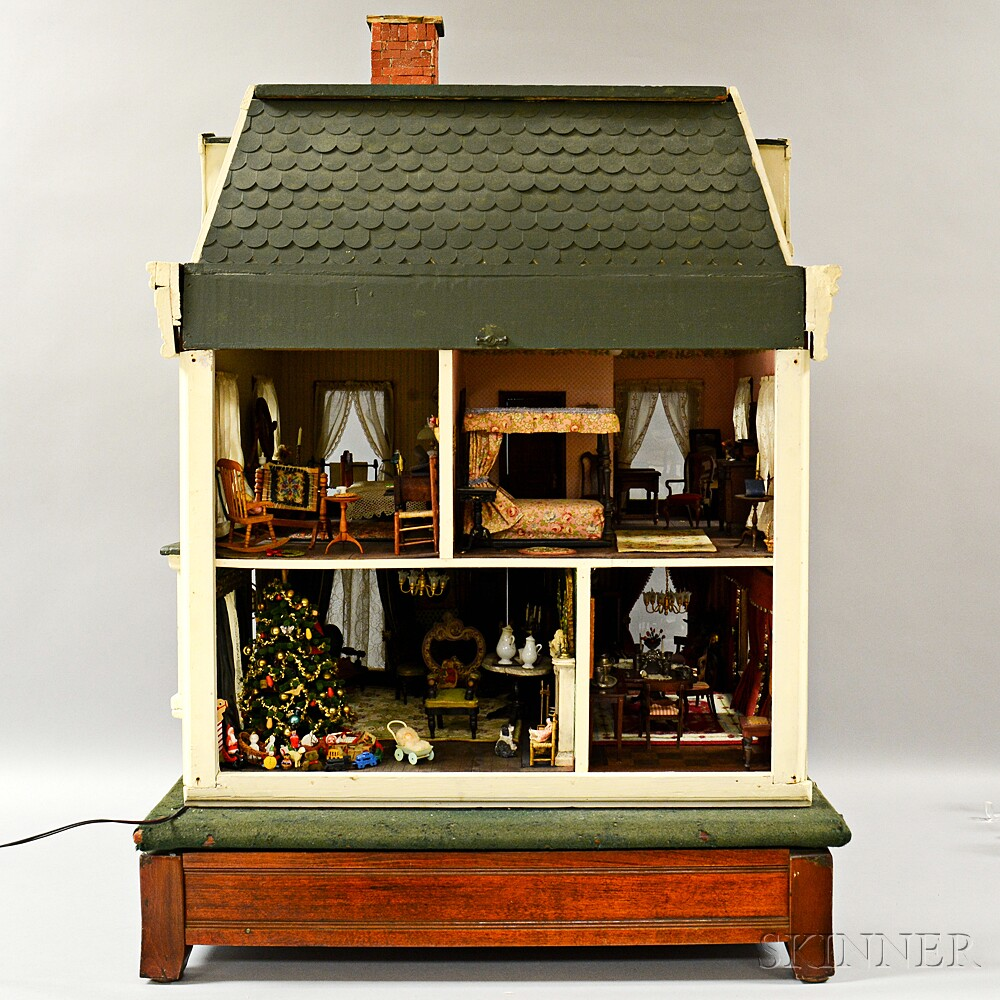 Victorian Carved and Painted Dollhouse and Dollhouse Accessories.     Estimate $1,500-2,500
