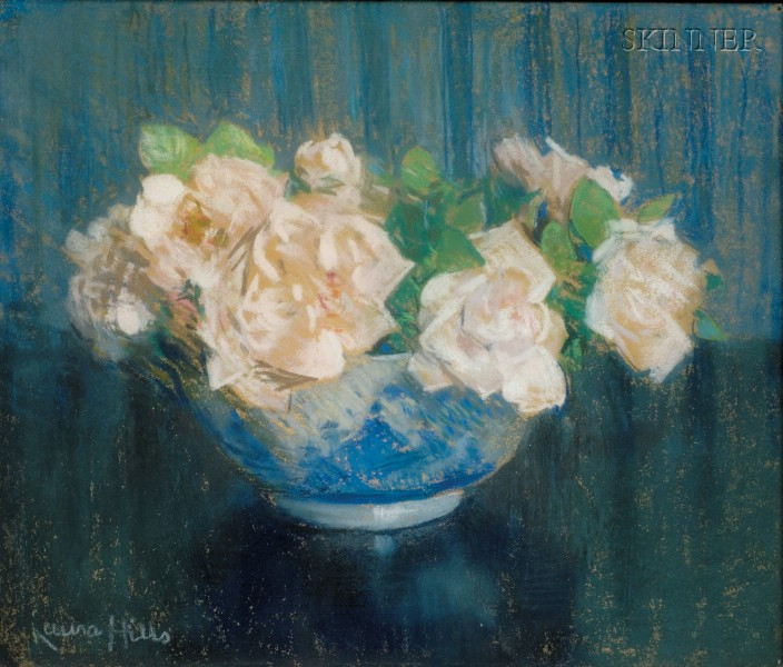 Laura Coombs Hills (American, 1859-1952)      Roses in a Blue Bowl