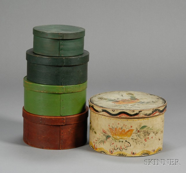Five Painted Bentwood Pantry Boxes