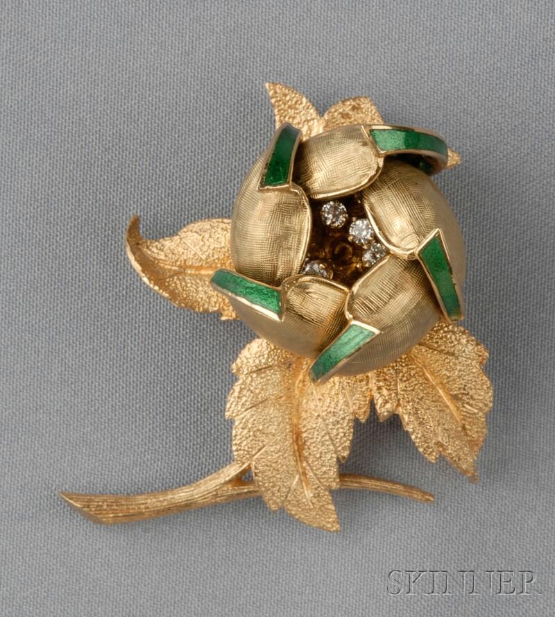 18kt Gold, Enamel, and Diamond Flower Brooch, Hammerman Bros.