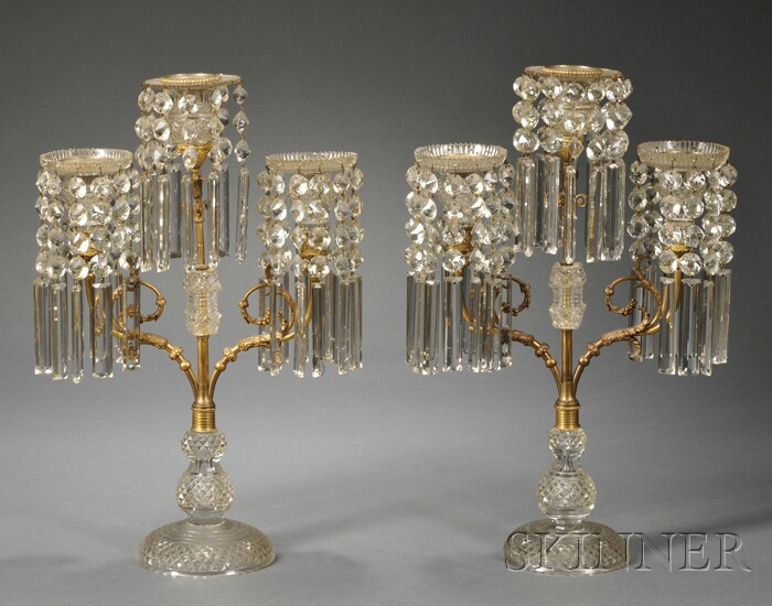 Pair of French Bronze and Colorless Cut Glass Three-light Mantel Lustres