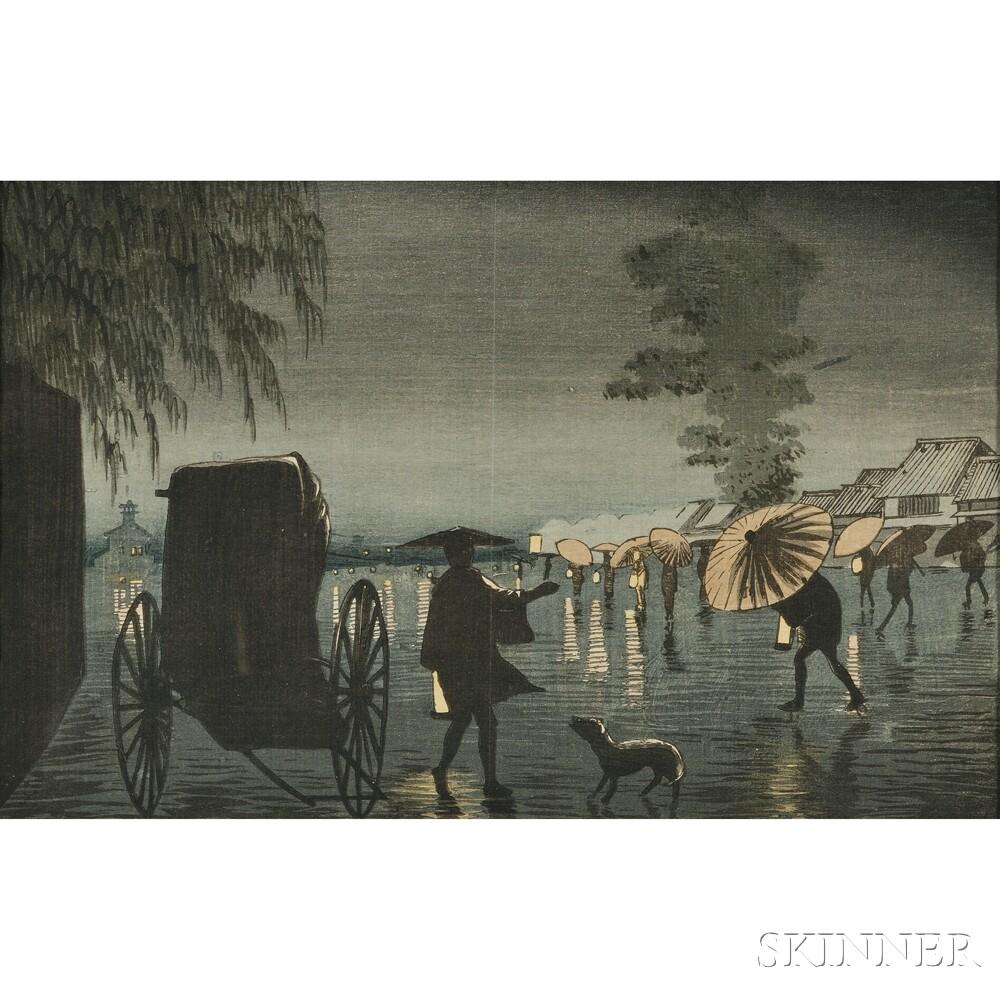 Kobayashi Kiyochika (1847-1915), Night Rain at Yanagihara