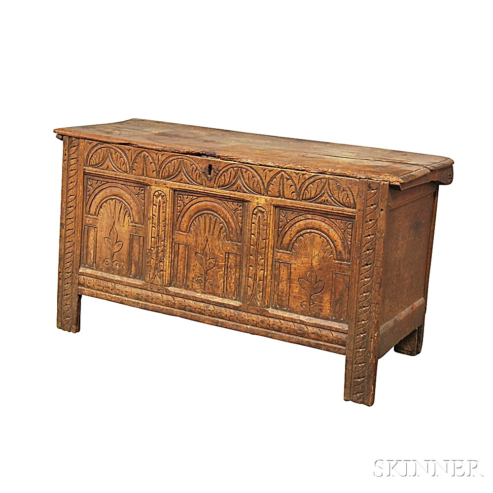 Carved Oak Joined Coffer