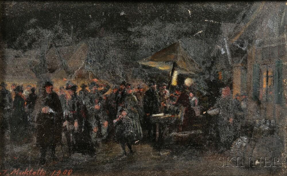 Johann Makloth (Austrian, 1846-1908)      Street Vendors at Night