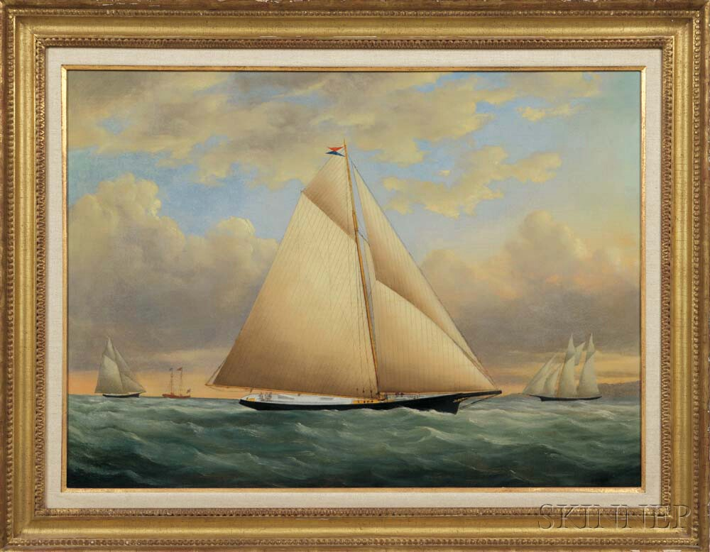 American School, c. 1856-60      The Yacht Julia   in the New York Yacht Club Race off Sandy Hook, New Jersey
