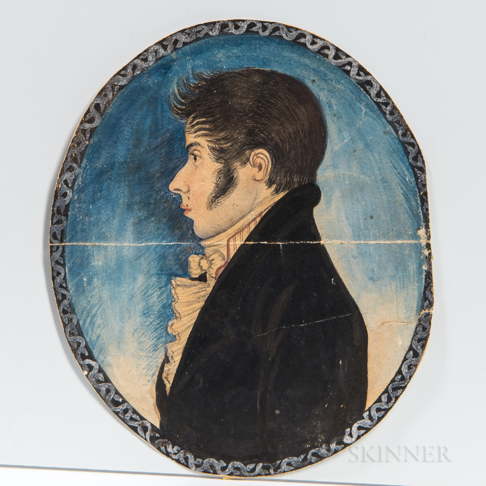 Possibly Edwin Plummer (American, 1802-1880)      Profile Portrait of a Young Man