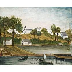 American School, 19th Century  Lakeside Village Scene.