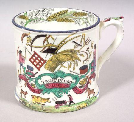 Polychrome Transfer Decorated Pearlware Mug