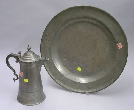 Calder Pewter Lighthouse Coffeepot and an English Pewter Charger.