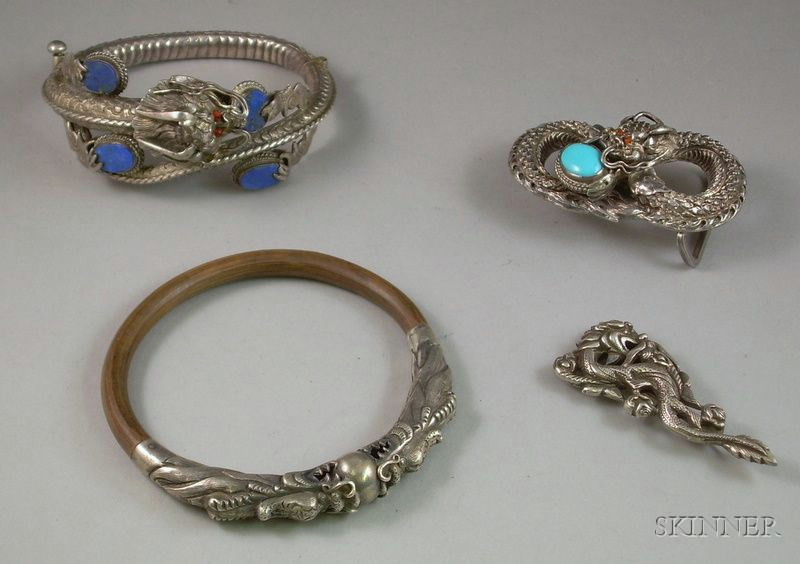 Four Pieces of Chinese Silver Dragon Chasing Pearl Jewelry