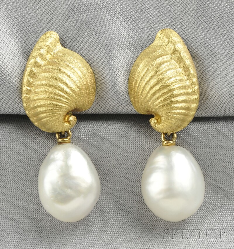 18kt Gold and Baroque South Sea Pearl Earpendants, Tony White