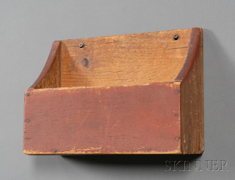 Red-painted Pine Wall Box