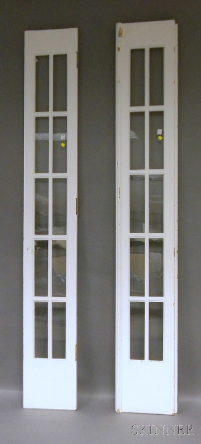 Pair of Architectural Glazed and Painted Wood French Doors