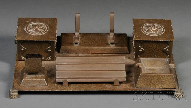 Arts & Crafts Metalwork Desk Group