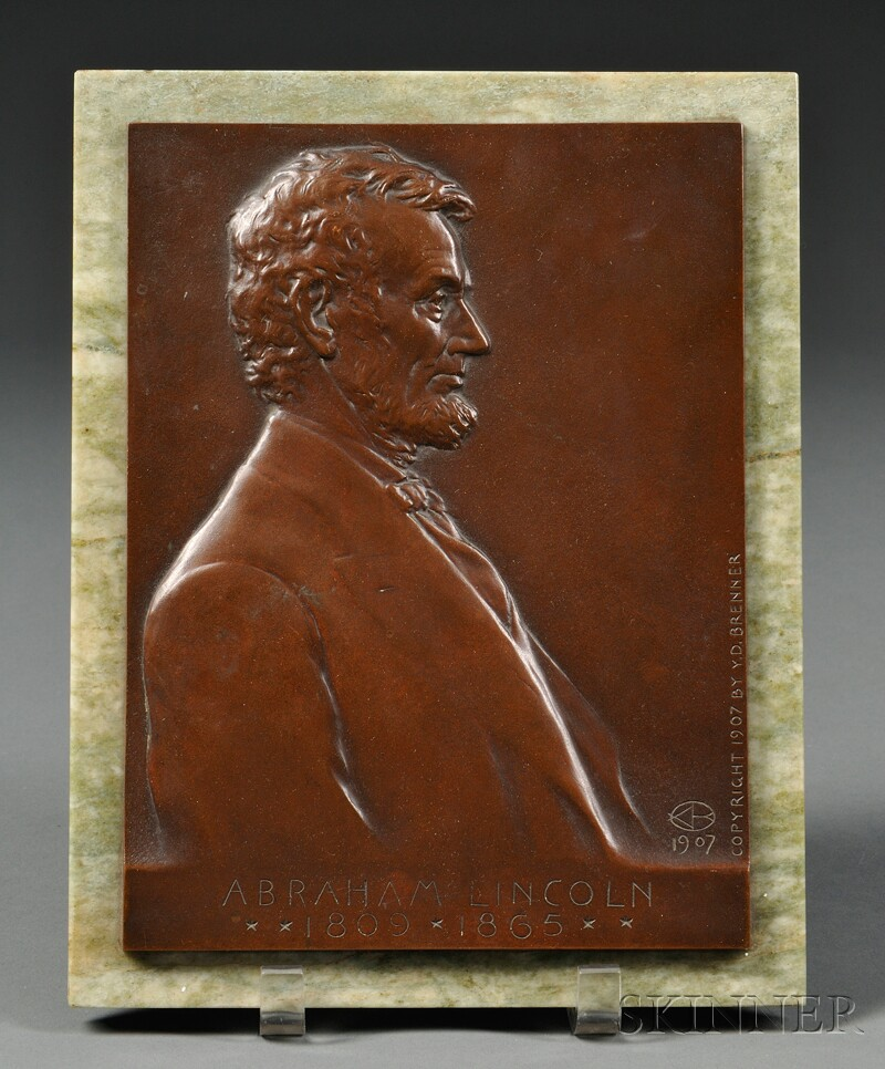 Y.D. Brenner (American, 1871-1924)       Bronze Portrait Plaque of Abraham Lincoln