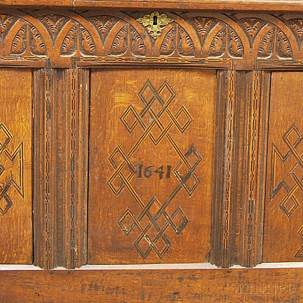 Jacobean Carved and Inlaid Oak Coffer