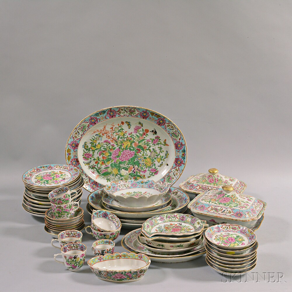 Large Group of Famille Rose Porcelain