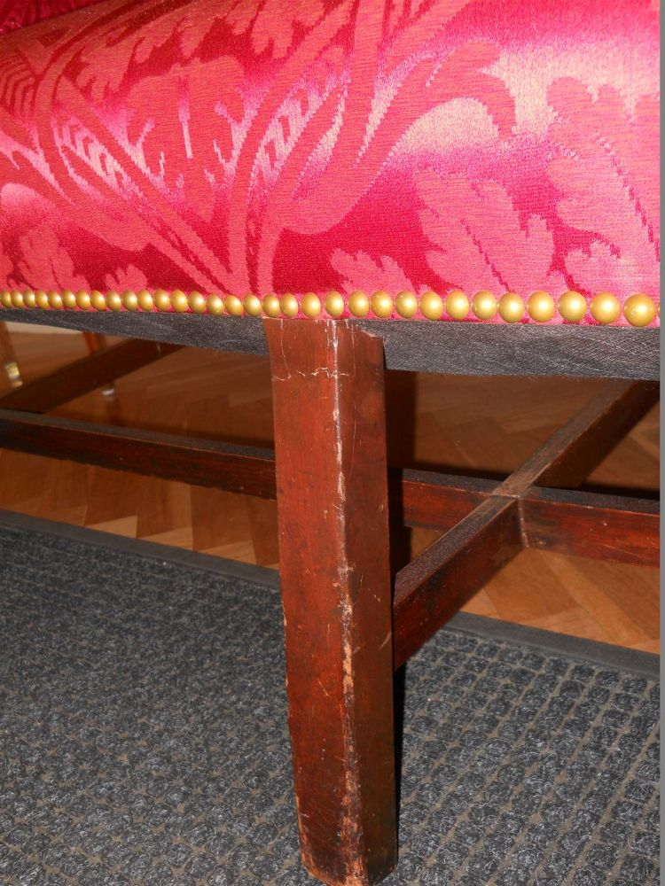 George III Mahogany Camel-back Sofa