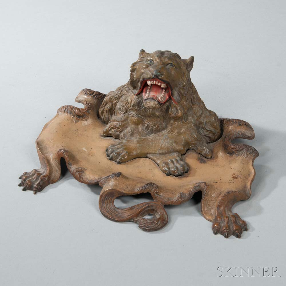 Bronze Lion Desk Tray with Inkwell