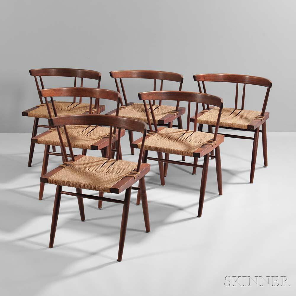 Six George Nakashima Grass-seat Chairs