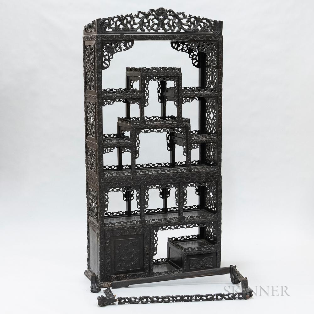 Chinese Carved Hardwood Etagere