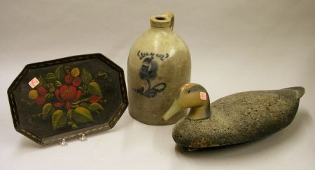 Painted Cork and Wooden Duck Decoy, a Tole Tray, and a Cobalt Floral Decorated Stoneware Jug.